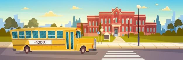Gelber bus vor schulgebäude-schülertransport Premium Vektoren