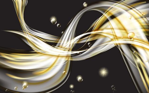 Gelber goldener fließender flüssiger abstrakter schwarzer hintergrund Kostenlosen Vektoren