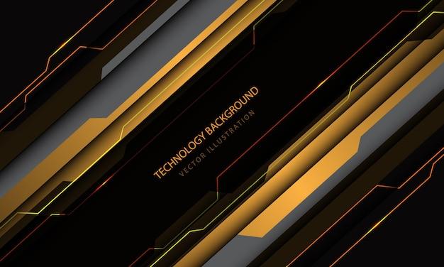 Gelber grauer metallischer schrägstrichgeschwindigkeitsentwurf der abstrakten technologie cyberschaltung modernen futuristischen hintergrund Premium Vektoren