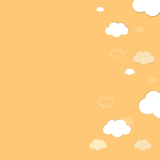 Gelber himmel mit gemustertem hintergrundvektor der wolken Kostenlosen Vektoren
