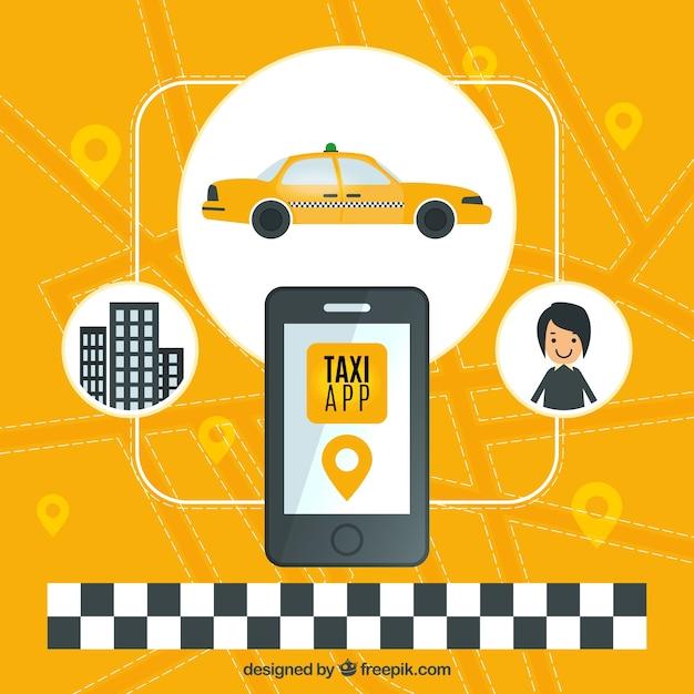 Gelber hintergrund der taxi-anwendung Kostenlosen Vektoren