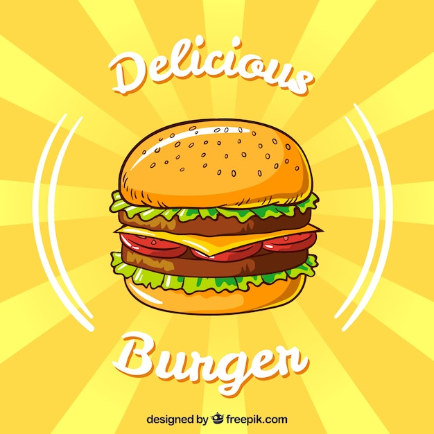 Gelber hintergrund mit appetitlichen burger in flachen design Kostenlosen Vektoren