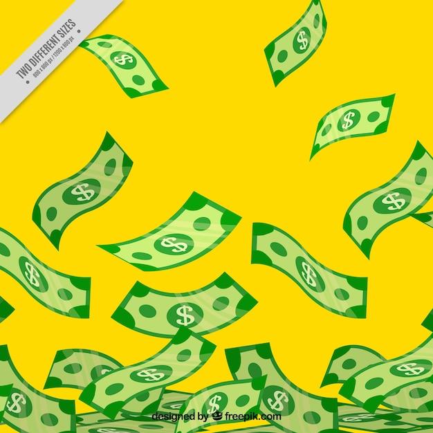 Gelber hintergrund mit banknoten Kostenlosen Vektoren
