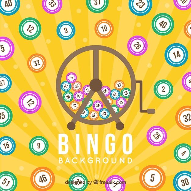 Gelber hintergrund mit bingokugeln Kostenlosen Vektoren
