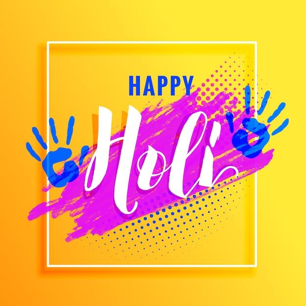 Gelber hintergrund mit farbenhand und bunter farbe für holi festival Kostenlosen Vektoren