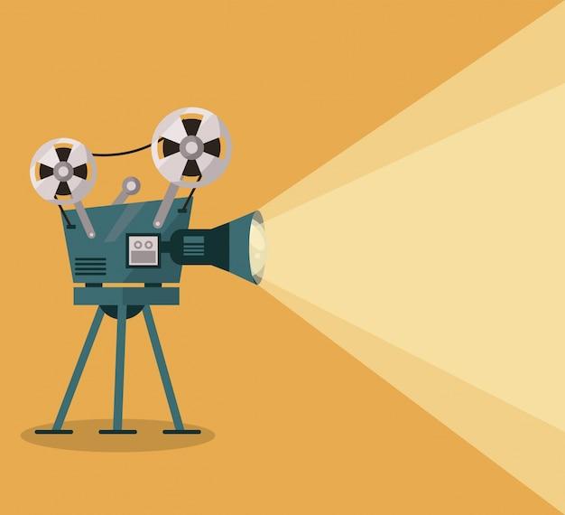 Gelber hintergrund mit filmprojektor Premium Vektoren