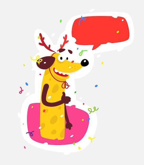 Gelber hund ist das symbol des neuen jahres. Premium Vektoren