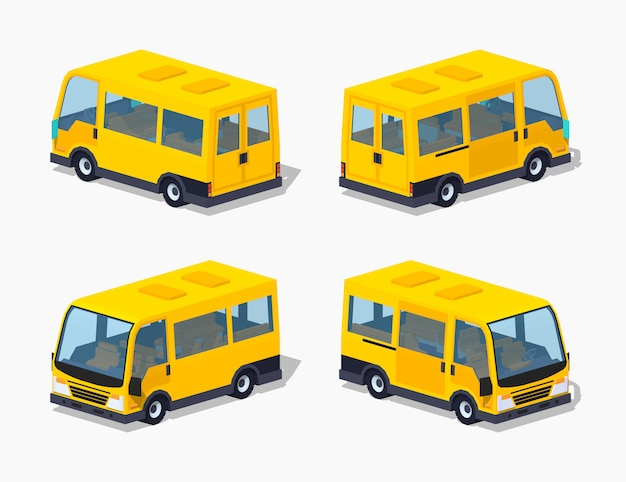 Gelber isometrischer minivan des passagiers 3d Premium Vektoren