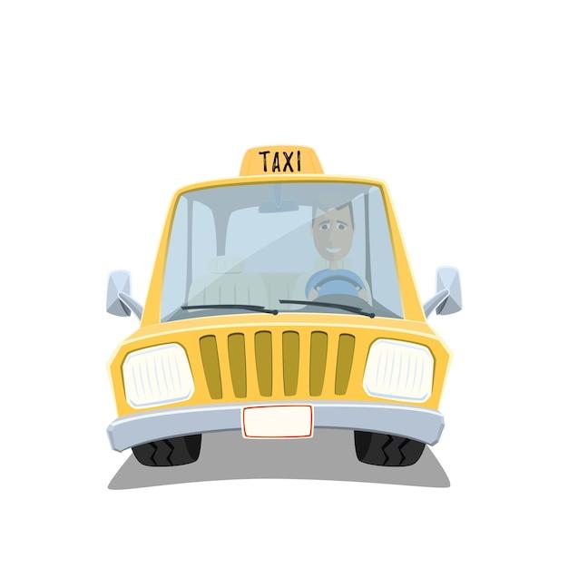Gelber karikatur-taxiauto mit freundlichem fahrer lokalisiert auf weißem hintergrund. Premium Vektoren