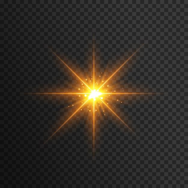 Gelber lichtblitzeffekt Premium Vektoren