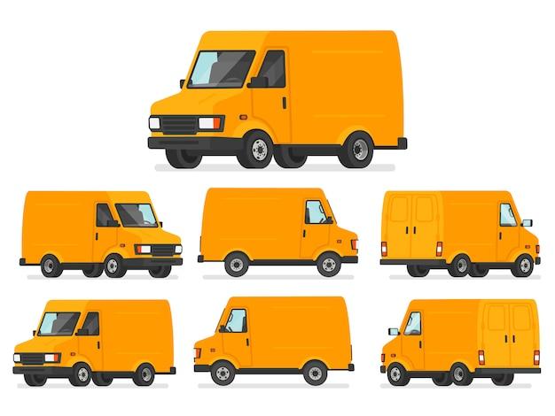 Gelber lieferwagensatz. lkw für den transport von waren. lieferfahrzeug, von verschiedenen seiten dargestellt Premium Vektoren