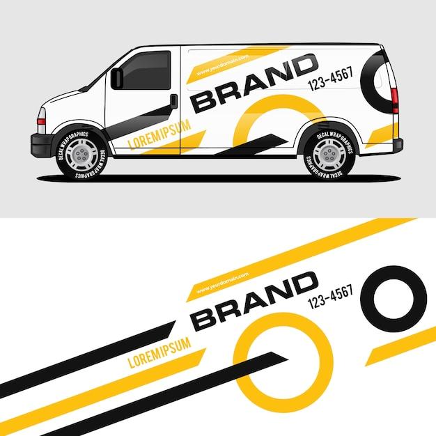 Gelber packwagenentwurf, der aufkleber und abziehbildentwurf einwickelt Premium Vektoren