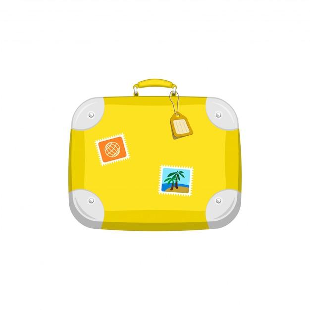 Gelber reisetaschenkoffer mit aufklebern auf lokalisiertem weiß Premium Vektoren