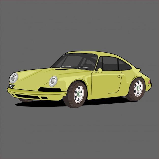 Gelber sportwagen Premium Vektoren