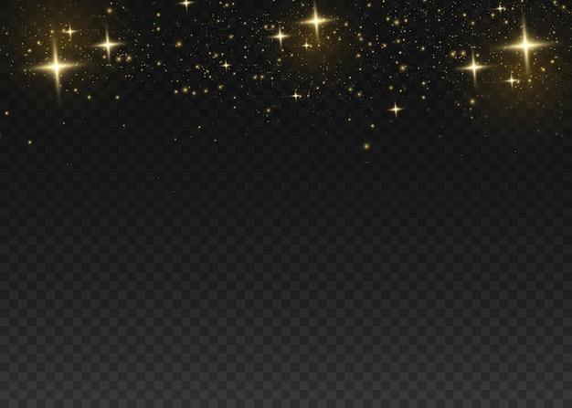 Gelber staub. bokeh-effekt. schönes licht blinkt. staubpartikel fliegen im weltraum. glühende staubstreifen auf einem dunklen hintergrund. Premium Vektoren