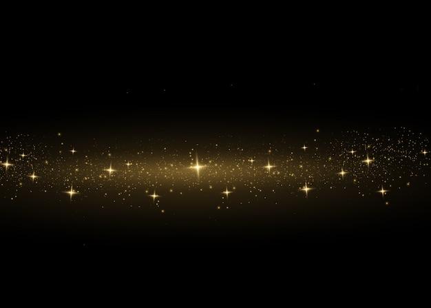 Gelber staub. bokeh-effekt. schönes licht blinkt. staubpartikel fliegen im weltraum. horizontale lichtstrahlen. glühende staubstreifen auf einem dunklen hintergrund. Premium Vektoren