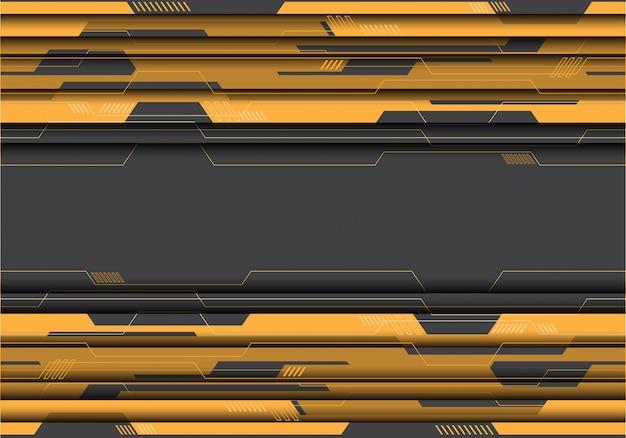 Gelber stromkreis auf grauem futuristischem hintergrund. Premium Vektoren