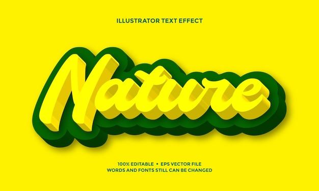 Gelber und grüner texteffekt kühne moderne natur Premium Vektoren