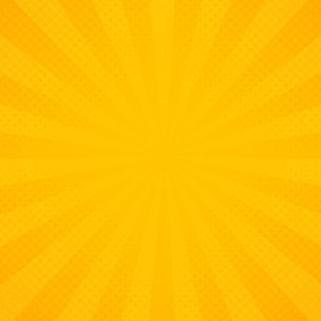 Gelber und orange strahlenstrahlmusterhintergrund. Premium Vektoren