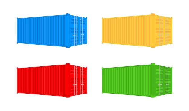 Gelber versand-frachtcontainer 20 und 40 fuß. für logistik und transport. Premium Vektoren