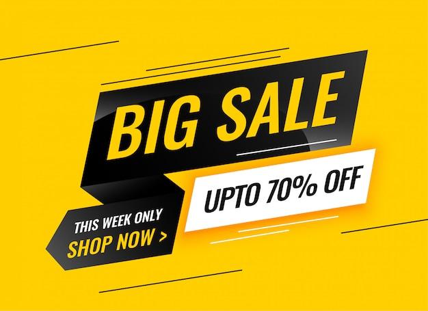Gelbes Fahnendesign des modernen großen Verkaufs Kostenlose Vektoren