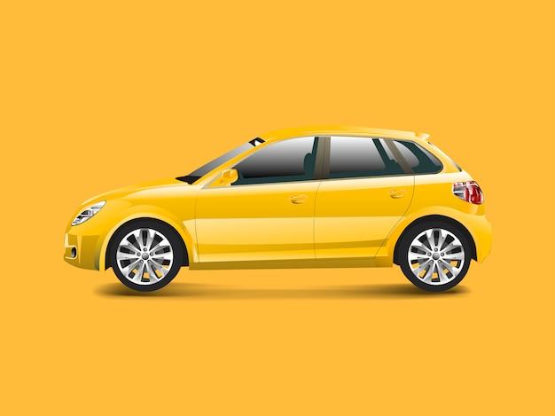 Gelbes hatchbackauto in einem gelben hintergrundvektor Kostenlosen Vektoren