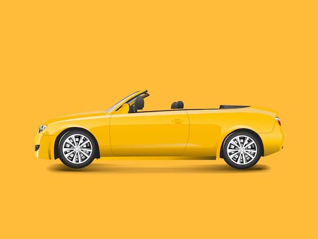 Gelbes kabriolett in einem gelben hintergrundvektor Kostenlosen Vektoren