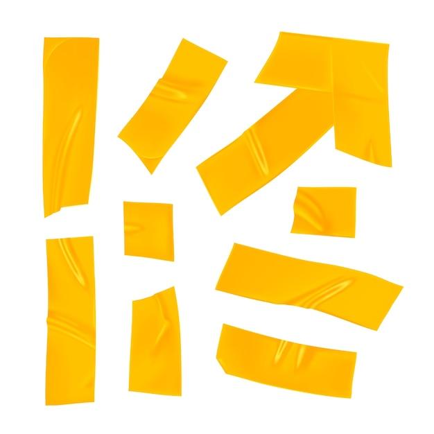 Gelbes klebeband-set. realistische gelbe klebebandstücke zum befestigen isoliert auf weißem hintergrund. pfeil und papier geklebt. realistische 3d-illustration. Premium Vektoren