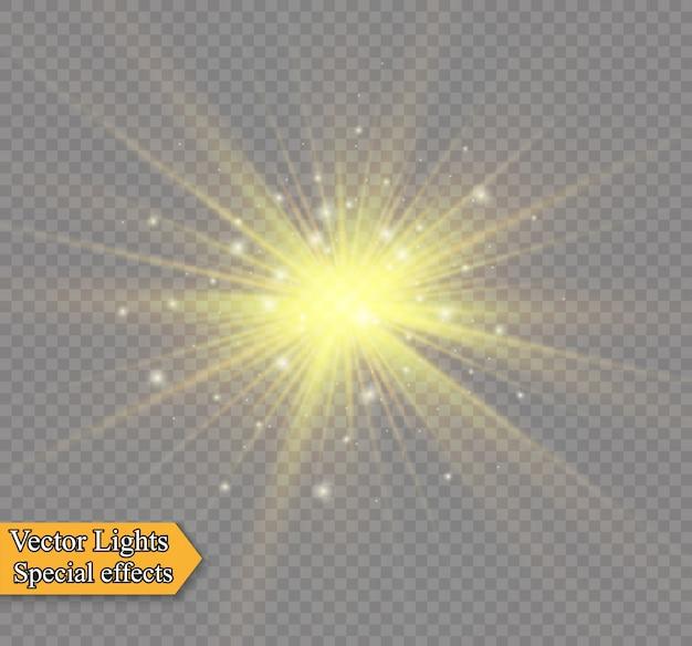 Gelbes leuchtendes licht explodiert auf einem transparenten hintergrund. funkelnde magische staubpartikel. heller stern. transparent strahlende sonne, heller blitz. einen hellen blitz zentrieren. Premium Vektoren