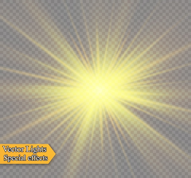 Gelbes leuchtendes licht explodiert auf einem transparenten hintergrund. funkelnde magische staubpartikel. heller stern. transparent strahlende sonne, heller blitz. funkelt. einen hellen blitz zentrieren. Premium Vektoren