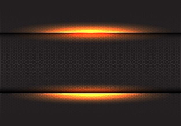 Gelbes licht auf dunklem hexagonmaschenhintergrund. Premium Vektoren