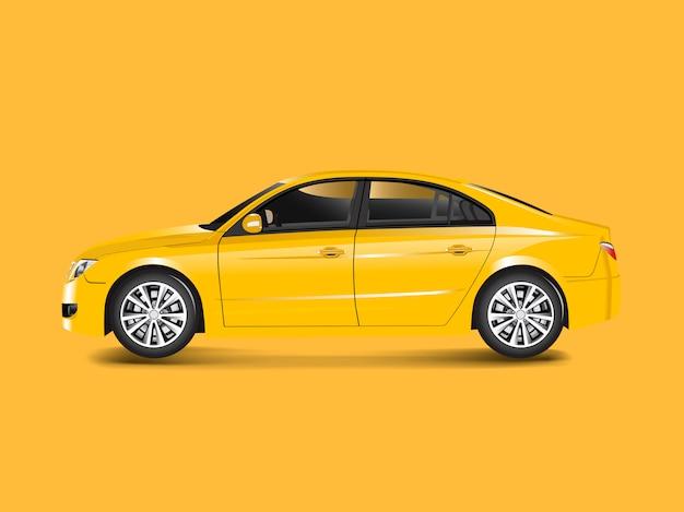 Gelbes limousinenauto in einem gelben hintergrundvektor Kostenlosen Vektoren