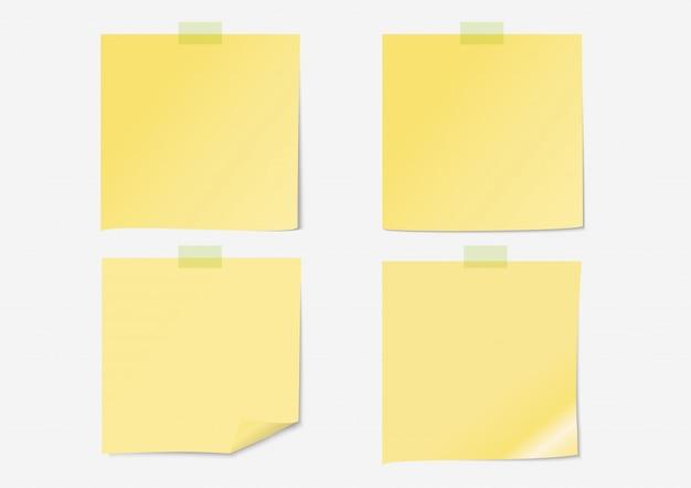 Gelbes pfostenbriefpapier eingestellt mit klebeband Premium Vektoren