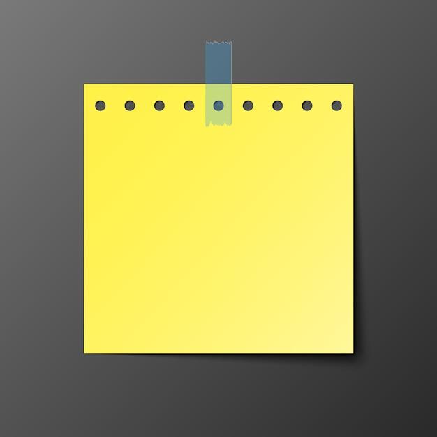 Gelbes postbriefpapier mit schatten Premium Vektoren