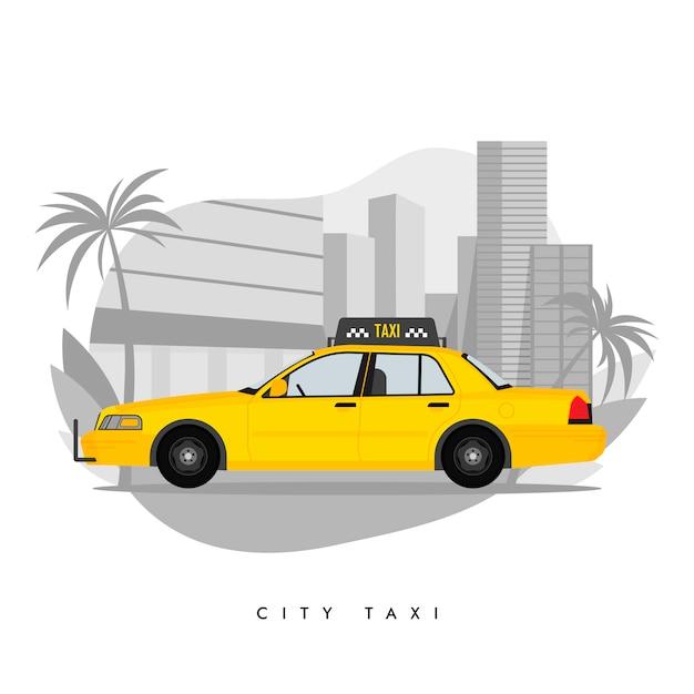 Gelbes taxi auf stadt mit wolkenkratzern und turm mit palmeabbildung Premium Vektoren