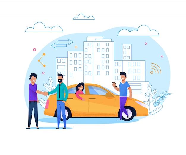 Gelbes taxi bestellen oder teilen. flaches zeilendarstellung Premium Vektoren