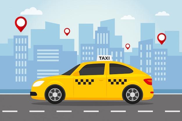 Gelbes taxi in der stadt Premium Vektoren