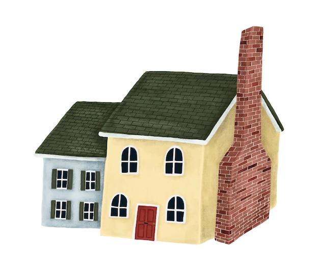 Gelbes und blaues befestigtes haus mit einem grünen dach Kostenlosen Vektoren