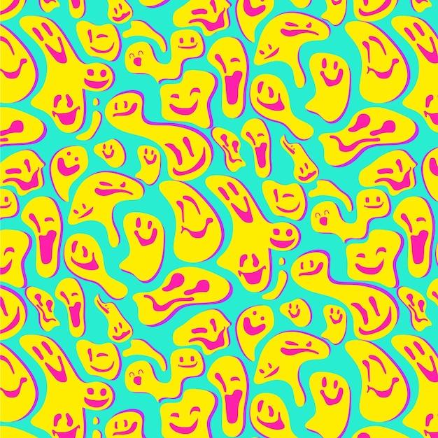 Gelbes verzerrtes lächeln-emoticon-muster Premium Vektoren
