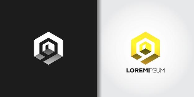 Gelbes würfel-logo Premium Vektoren