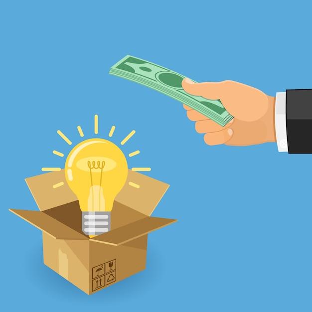 Geld für die idee Premium Vektoren