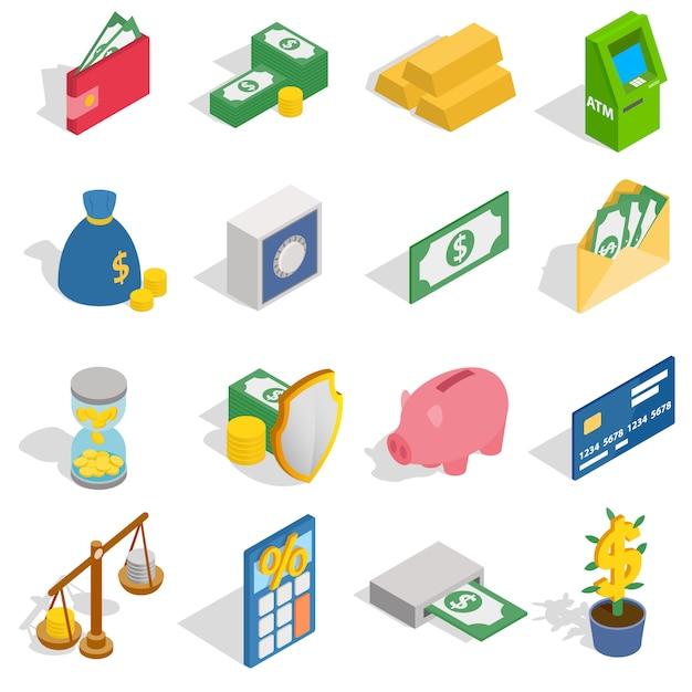 Geld-ikonen stellten in die isometrische art 3d ein, die auf weißem hintergrund lokalisiert wurde Premium Vektoren