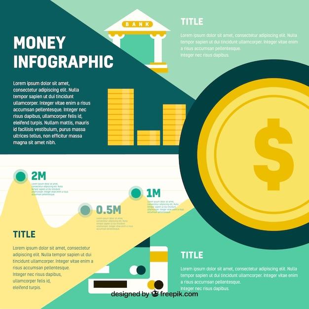 Geld Infografik-Vorlage in flaches Design | Download der kostenlosen ...
