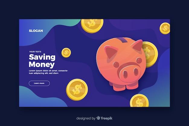 Geld landing page sparen Kostenlosen Vektoren