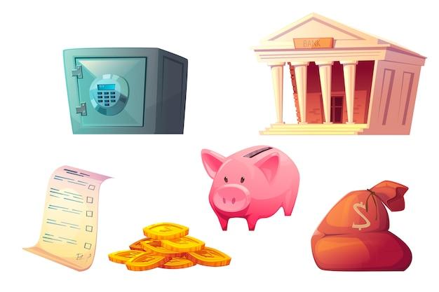 Geld sparen cartoon-symbol, sparschwein-tresor Kostenlosen Vektoren