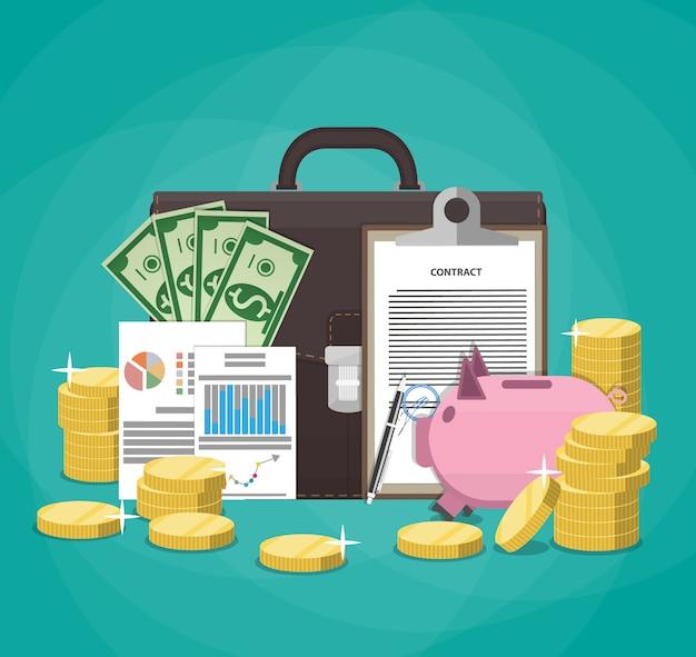 Geld sparen. geschäfts-, finanz- und investitionskonzept. Premium Vektoren