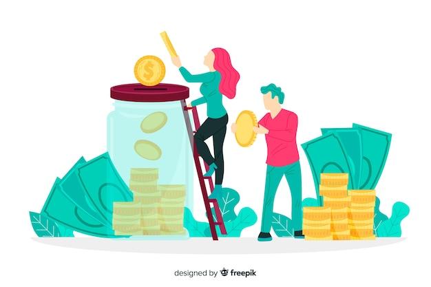 Geld sparen konzept hintergrund Kostenlosen Vektoren
