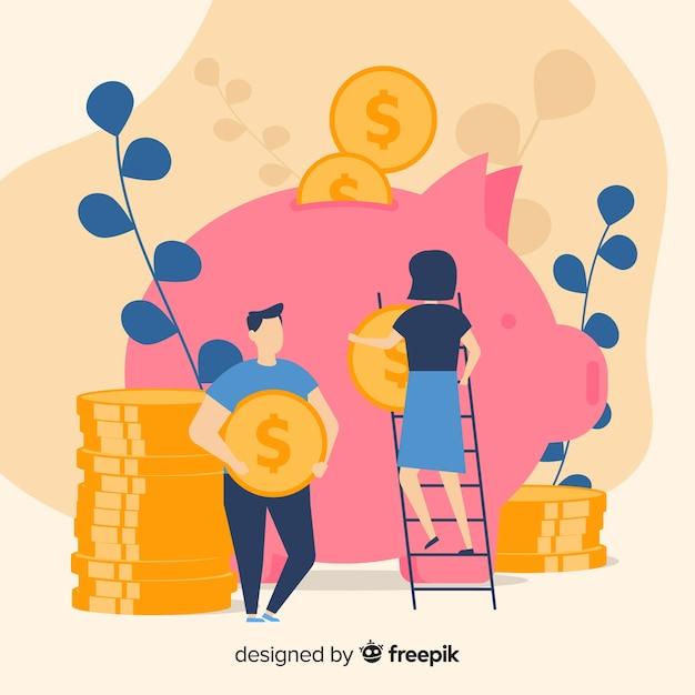 Geld sparen konzept Kostenlosen Vektoren