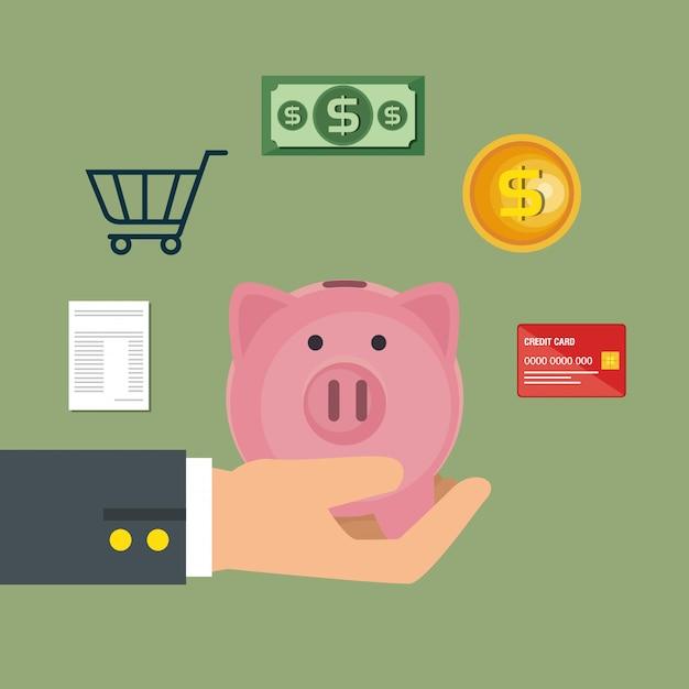 Geld sparen stellen icons Kostenlosen Vektoren