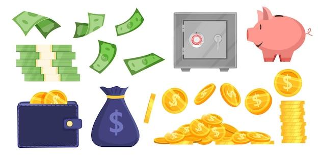 Geld sparen vektor-bank illustration set mit münzen, geldsack, sparschwein, brieftasche, sicherer safe, dollarnoten. Premium Vektoren